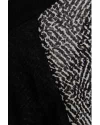 Derek Lam Black Cashmere-Blend And Printed Silk-Georgette Sweater