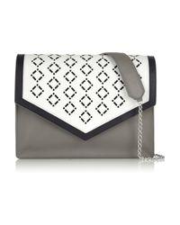 Iris & Ink Gray Chelsea Lasercut Leather Shoulder Bag