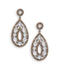 Bavna | Metallic Rainbow Moonstone, Champagne & Grey Diamond Teardrop Earrings | Lyst