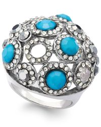 INC International Concepts Blue Silver-tone Turquoise Bead And Crystal Dome Stretch Ring