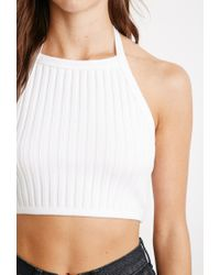 Forever 21 - Natural Ribbed Halter Top - Lyst