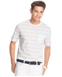Izod - White Striped Pocket T-Shirt for Men - Lyst