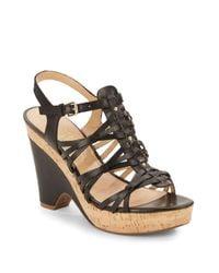 Ivanka Trump - Black Hourly Leather & Cork Wedge Sandals - Lyst