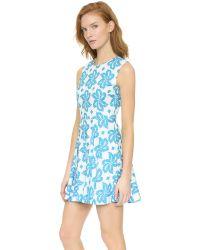 Diane von Furstenberg Multicolor Jeannie Dress - Giant Leaf Floral Blue