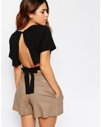 ASOS - Black Kimono Crop Top With Obi Tie And Open Back - Lyst