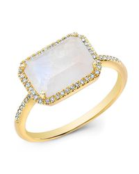 Anne Sisteron | White 14kt Yellow Gold Moonstone Diamond Chic Ring | Lyst