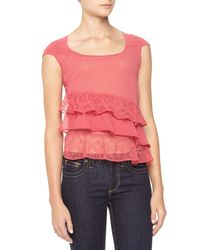 RED Valentino - Pink Ruffled Cap-Sleeve Voile Blouse - Lyst