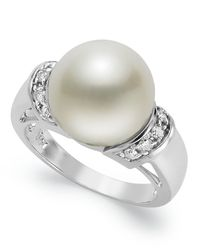 Macy's | 14k White Gold Ring, Cultured Freshwater Pearl (12mm) And Diamond (1/4 Ct. T.w.) Ring | Lyst