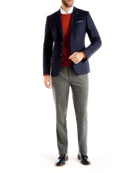 Ted Baker Gray Wool Mix Trouser In Slim Fit for men