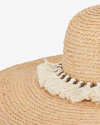 Hat Attack - Natural Xl Tasseled Trim Raffia Sun Hat - Lyst