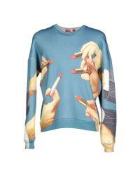 MSGM Blue MGSM x Toilet Paper Magazine Lipstick Print Sweatshirt for men