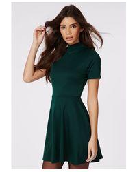 Missguided Kerry High Neck Skater Dress Green