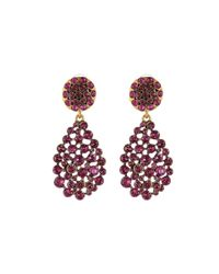 Oscar de la Renta - Purple Swarovski Crystal Flower Drop Pavé Earrings - Lyst