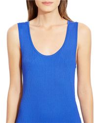 Lauren by Ralph Lauren Blue Rib-knit Shawl Cardigan