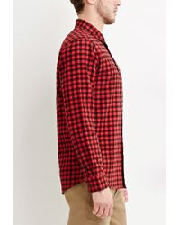 Forever 21   Red Plaid Flannel Shirt for Men   Lyst
