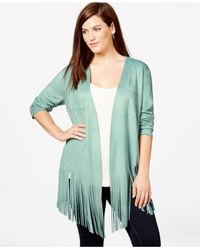 Soprano Green Plus Size Faux-suede Fringe Top