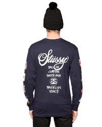 Stussy Blue World Tour Cotton Long Sleeve T-shirt