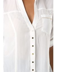 Bebe White Fiorella Shirt