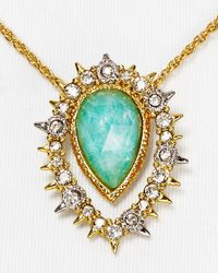 "Alexis Bittar Metallic Elements Crystal Studded Spur Framed Amazonite Doublet Pendant Necklace, 16"""