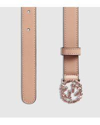 5c8089ab1ae Lyst - Gucci Thin Leather Belt With Crystal Interlocking G Buckle in ...
