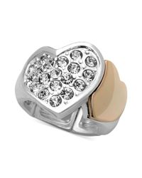 Guess Metallic Twotone Crystal Double Heart Stretch Ring