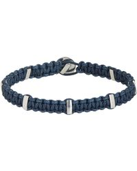 Zadeh | Metallic Silver Bar & Macrame Cord Bracelet for Men | Lyst