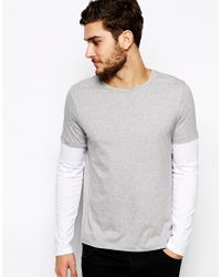 ASOS Gray Long Sleeve T-shirt With Double Layer for men