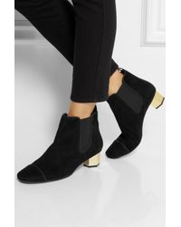 Tory Burch Black Regina Suede Ankle Boots