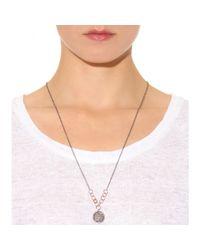 Roberto Marroni | Metallic 18kt Oxidized Gold Necklace With Brown And White Diamonds | Lyst