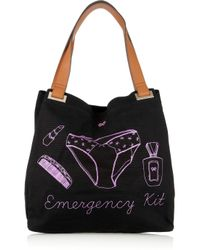 Anya Hindmarch Black Emergency Kit Canvas Tote