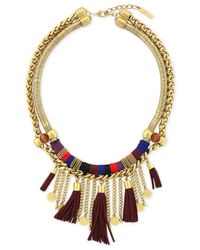 Vince Camuto | Metallic Gold-tone Wrapped Tassel Necklace | Lyst