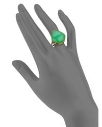 Lena Skadegard Green Chrysoprase, 18k Yellow Gold & Sterling Silver Cabochon Ring