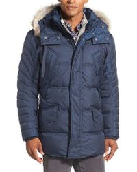 Marc New York - Blue By Andrew Marc 'stowaway' Hooded Parka With Genuine Coyote Fur Trim for Men - Lyst
