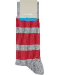 Paul Smith | Red Striped Sports Socks, Men's, Grey for Men | Lyst