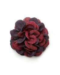 Hook + Albert - Red Bob Rosette Lapel Pin - Lyst