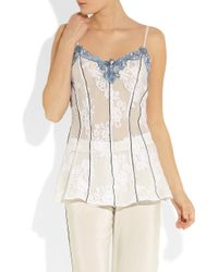 Rosamosario Blue Lord Byron Loves Italy Lace Camisole
