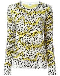 KENZO - White Leopard Print Sweater - Lyst