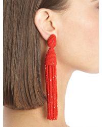 Oscar de la Renta - Red Classic Long Tassel Earrings - Lyst