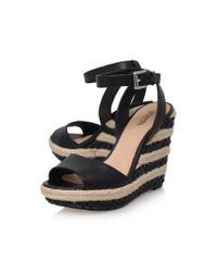 MICHAEL Michael Kors Black Elena Leather Wedge Sandal