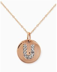 Lord & Taylor - Pink 14 Kt. Rose Gold With Diamond Accented U Necklace - Lyst