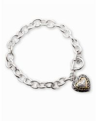 Lord & Taylor | Metallic Sterling Silver Bracelet With Diamond Accented Heart Charm | Lyst