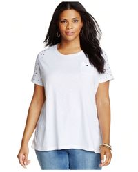 Style & Co. | White Sport Plus Size Short-sleeve Studded Tee | Lyst