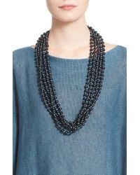 Eskandar Blue Acai Seed Bead Triple Strand Necklace - Marine