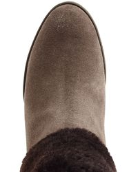 Ferragamo - Blue Suede Ankle Boots With Sheepskin - Lyst