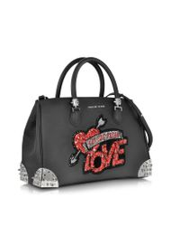 Philipp Plein Black Grained Leather Love Handbag
