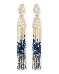 Oscar de la Renta - Metallic Long Ombre-Beaded Tassel Clip Earrings - Lyst