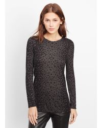 VINCE | Black Leopard Print Long Sleeve Crew Neck Tee | Lyst