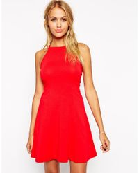 ASOS | Red 90's Skater Dress With High Neck | Lyst