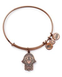 ALEX AND ANI | Pink Hand Of Fatima Rose Gold Tone Wire Bangle - Bloomingdale's Exclusive | Lyst