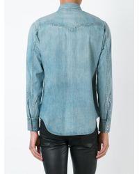 Saint Laurent Blue Western Denim Shirt for men